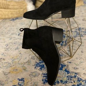 Faux suede stretchy ankle boots